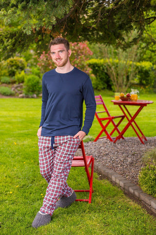 Lounge Pants Mens Cotton Flannel - Red / White Check (LV4) - Lee Valley Ireland - 1