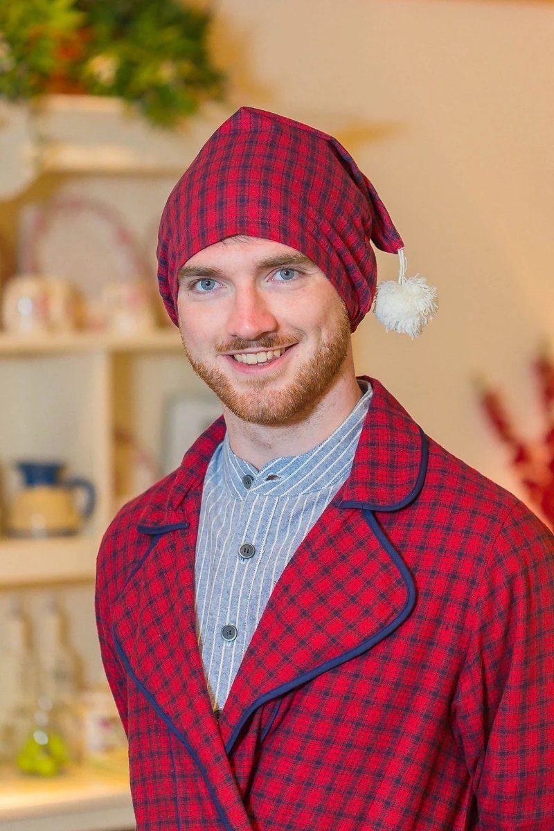 Nightcap Irish Country Flannel Mens - SF2 Red/Navy Check - Lee Valley Ireland