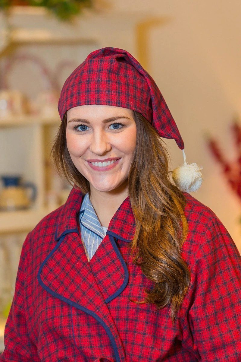 Nightcap Irish Country Flannel Ladies - SF2 Red/Navy Check - Lee Valley Ireland