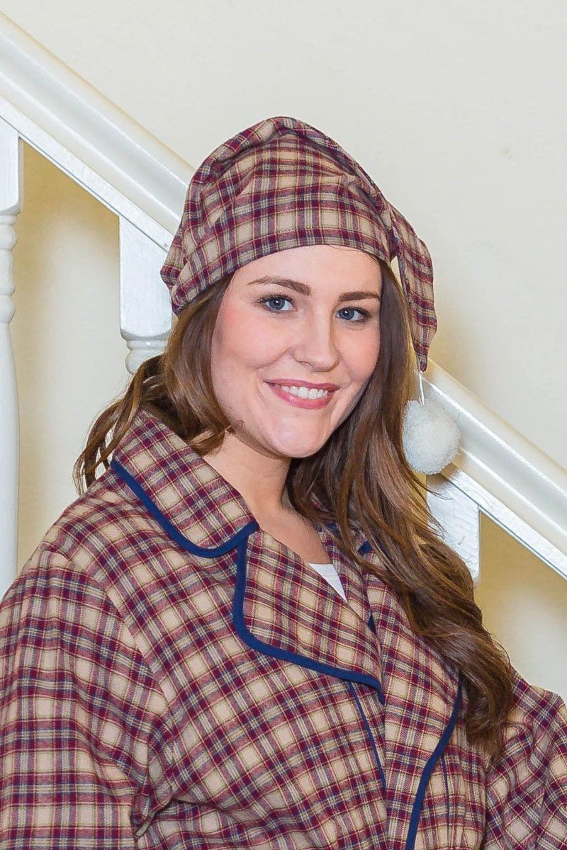 Nightcap Irish Country Flannel Ladies - SF4 Claret Check - Lee Valley Ireland - 1