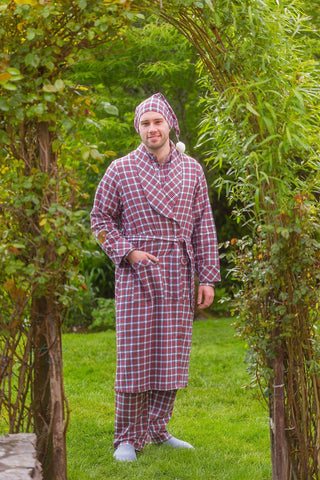 Nightcap Cotton Flannelette Mens - Red / White (LV4) - Lee Valley Ireland