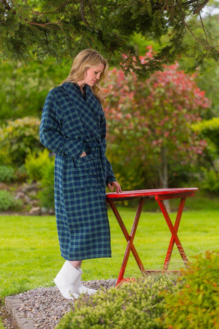 Nightrobe Ladies Cotton Flannelette - Green/Navy Tartan Blackwatch (LV6) - Lee Valley Ireland - 1