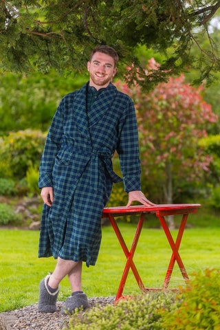 Nightrobe Mens Cotton Flannelette - Green/Navy Tartan Blackwatch (LV6) - Lee Valley Ireland - 1