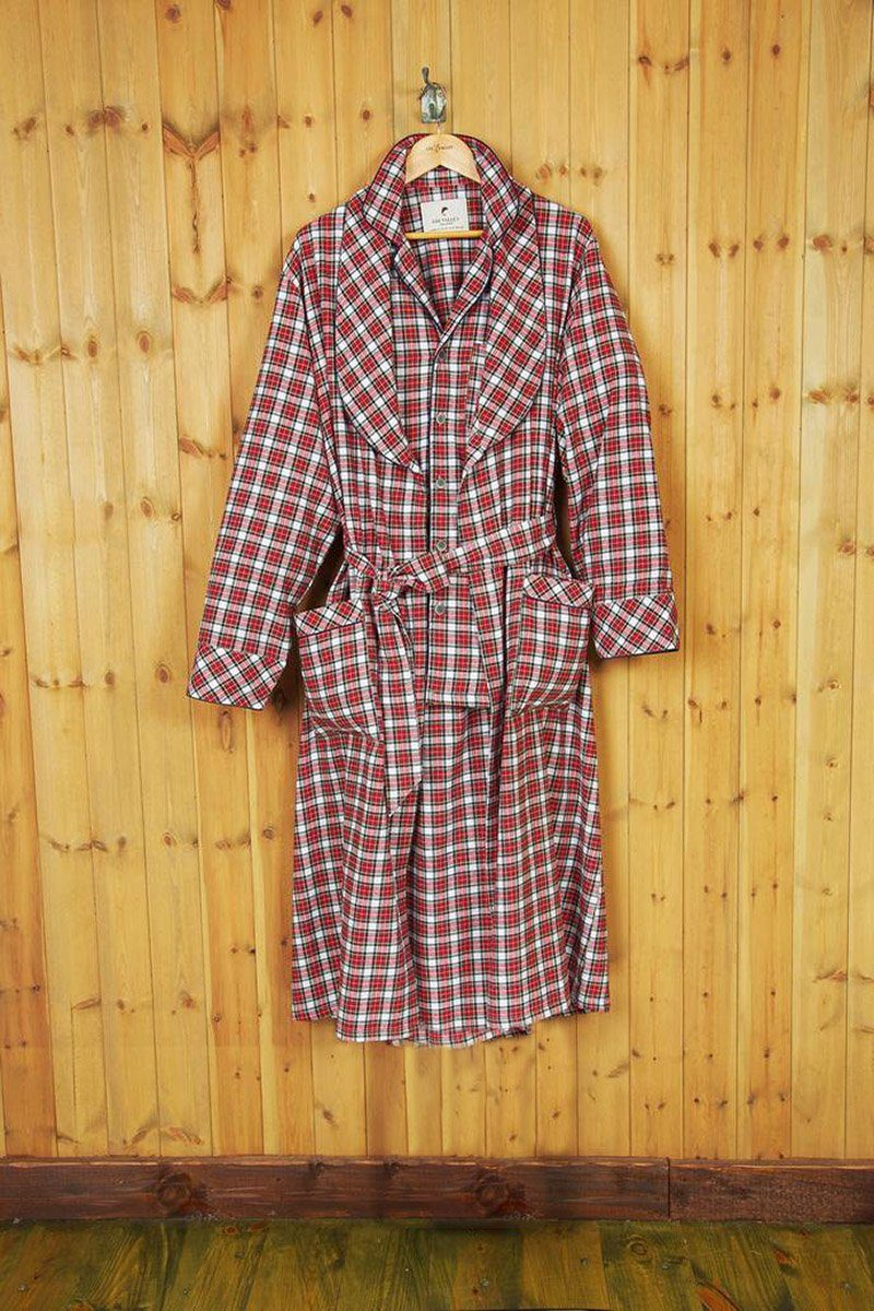 Nightrobe Ladies Cotton Flannelette - Red / White (LV4) Sleepwear Lee Valley Ireland