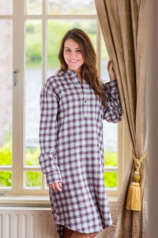 Nightshirt Lee Valley Flannel Ladies - LV7 Maroon Check - Lee Valley Ireland - 1