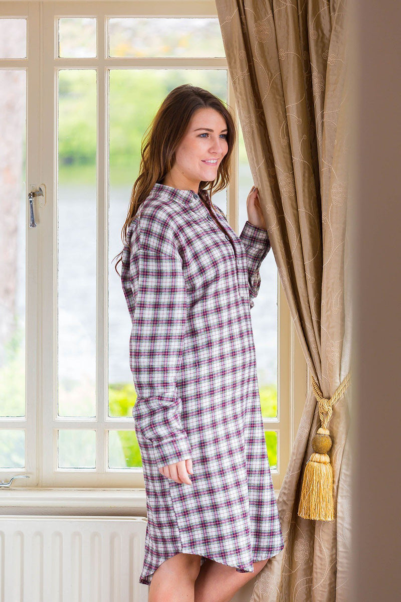 Nightshirt Lee Valley Flannel Ladies - LV7 Maroon Check Sleepwear Lee Valley Ireland