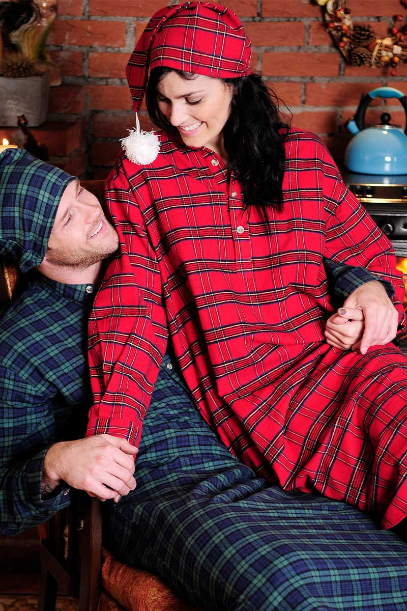 Nightshirt Lee Valley Flannel Ladies - LV27 Red Tartan - Royal Stewart Sleepwear Lee Valley Ireland