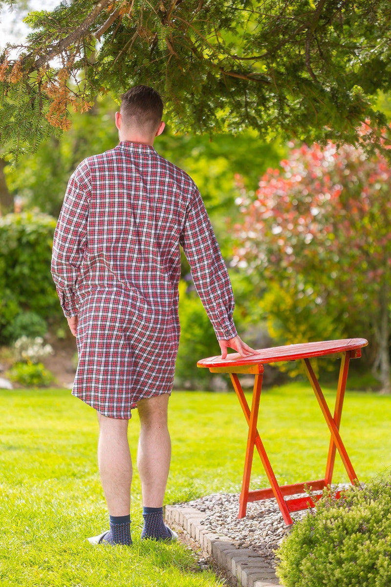Nightshirt Lee Valley Flannel Mens - LV4 Red/White/Yellow Check - Lee Valley Ireland - 3