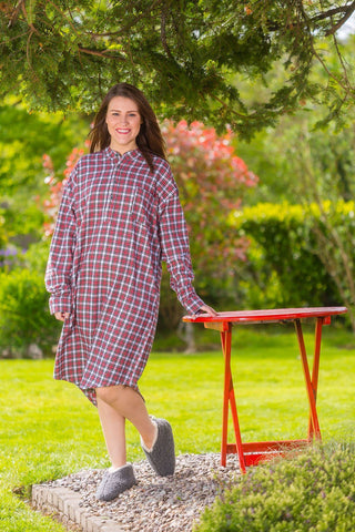 Nightshirt Lee Valley Flannel Ladies - LV4 Red/White/Yellow Check - Lee Valley Ireland - 1
