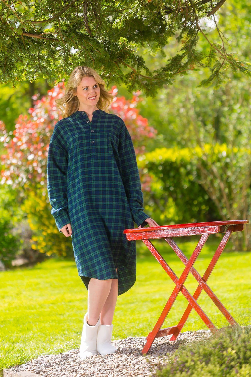 Nightshirt Lee Valley Flannel Ladies - LV6 Green Tartan- Blackwatch Sleepwear Lee Valley Ireland