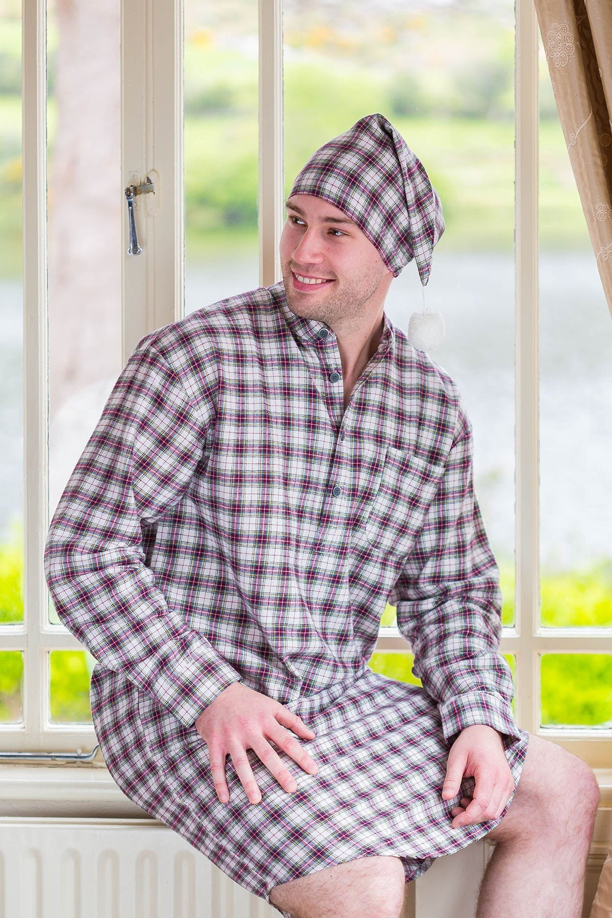 Nightshirt Lee Valley Flannel Mens - LV7 Maroon Check - Lee Valley Ireland  - 1 ... 8b4d745e1