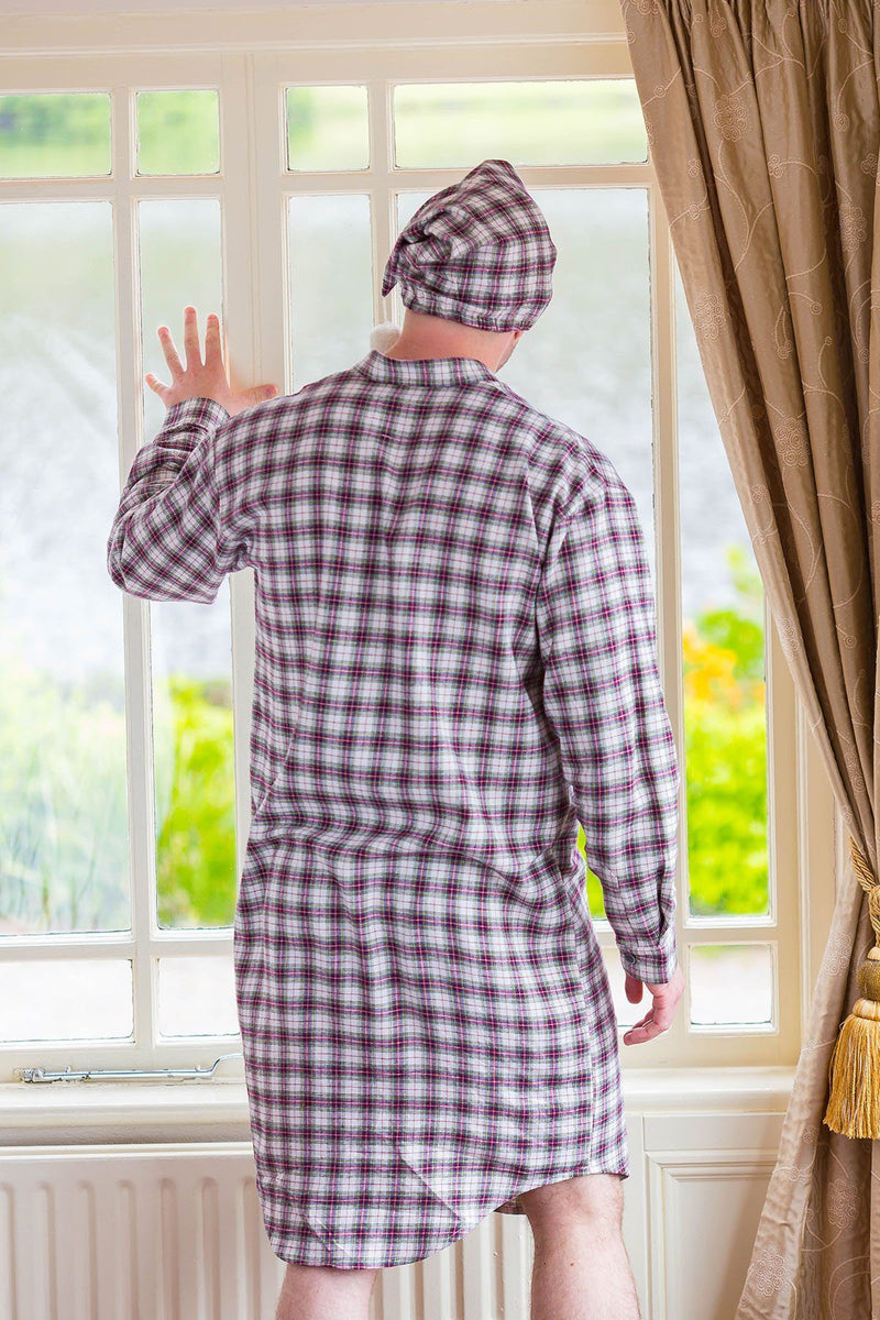 Nightcap Cotton Flannelette Mens - Maroon (LV7) Sleepwear Lee Valley Ireland