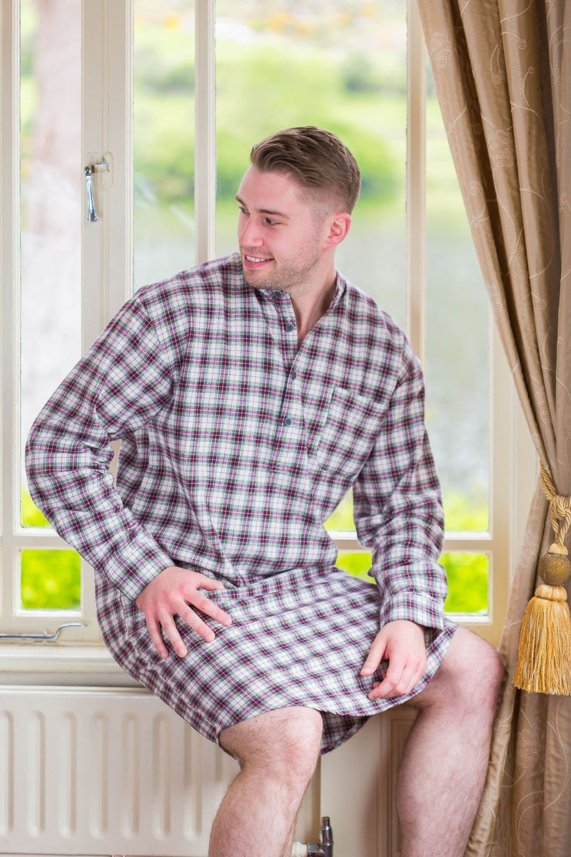 Nightshirt Lee Valley Flannel Mens - LV7 Maroon Check Sleepwear Lee Valley Ireland