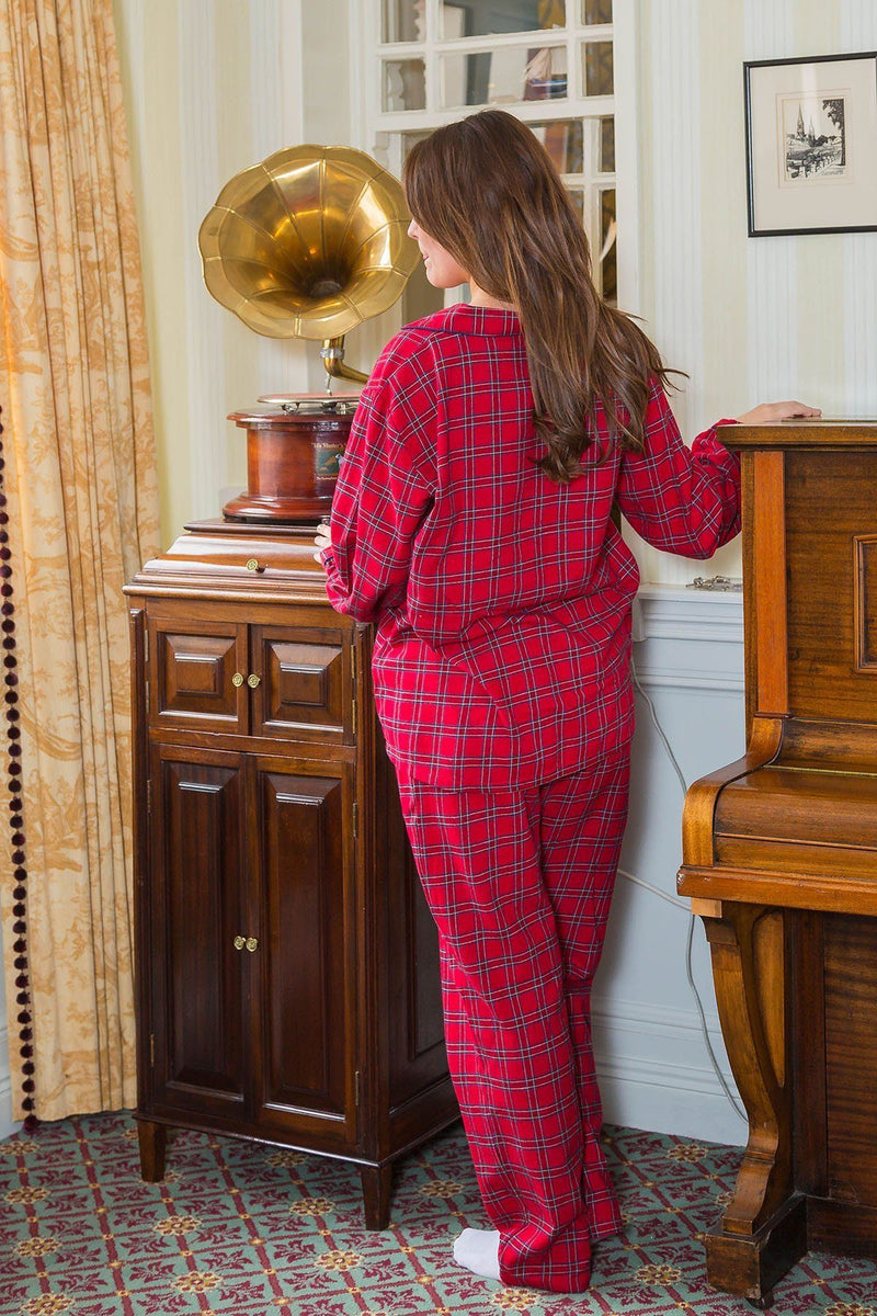 Pyjamas Lee Valley Flannel Ladies -LV27 Red Tartan - Royal Stewart Sleepwear Lee Valley Ireland