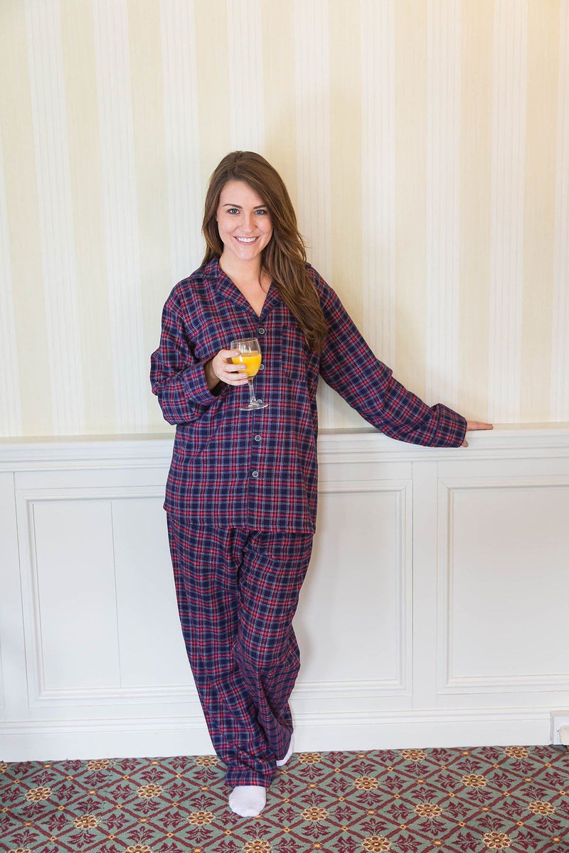 Pyjamas Lee Valley Flannel Ladies - LV28 Purple/Navy Tartan Sleepwear Lee Valley Ireland