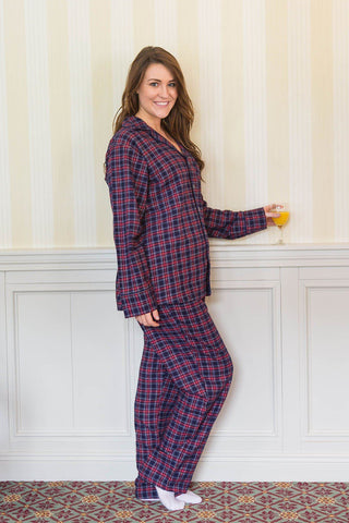 Pyjamas Lee Valley Flannel Ladies - LV28 Purple/Navy Tartan - Lee Valley Ireland - 1