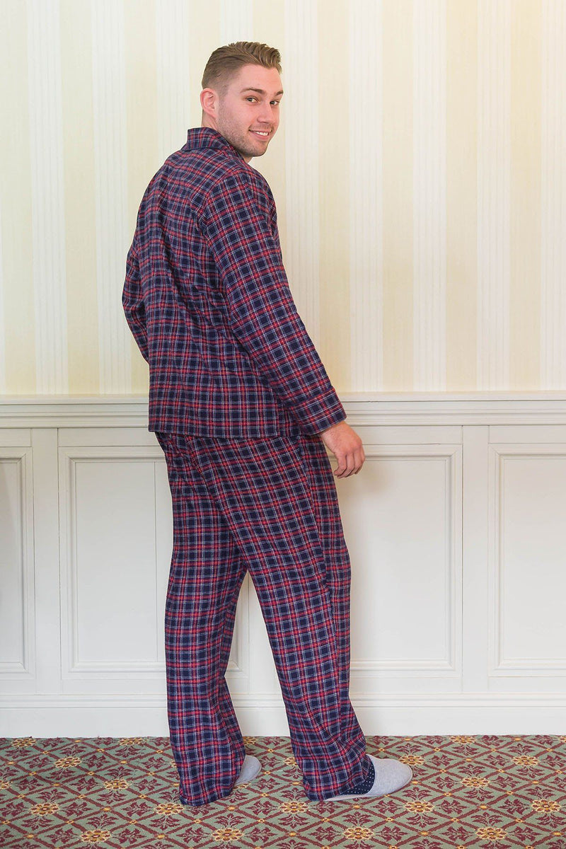 Pyjamas Lee Valley Flannel Mens - LV28 Purple/Navy Tartan Sleepwear Lee Valley Ireland