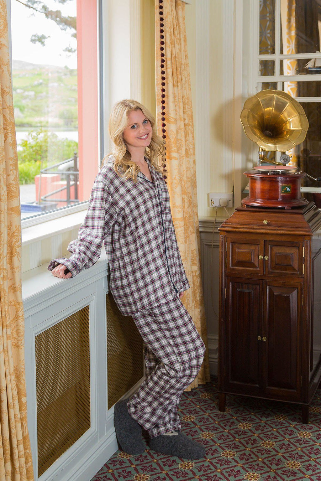 Pyjamas Lee Valley Flannel Ladies - LV7 Maroon Check Sleepwear Lee Valley Ireland