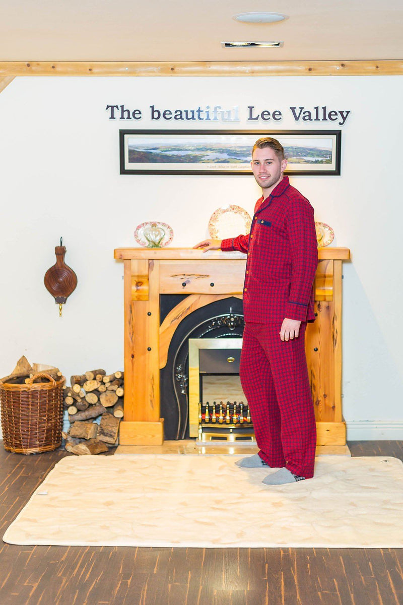 Pyjamas Irish Country Flannel Mens - SF2 Red Check Sleepwear Lee Valley Ireland