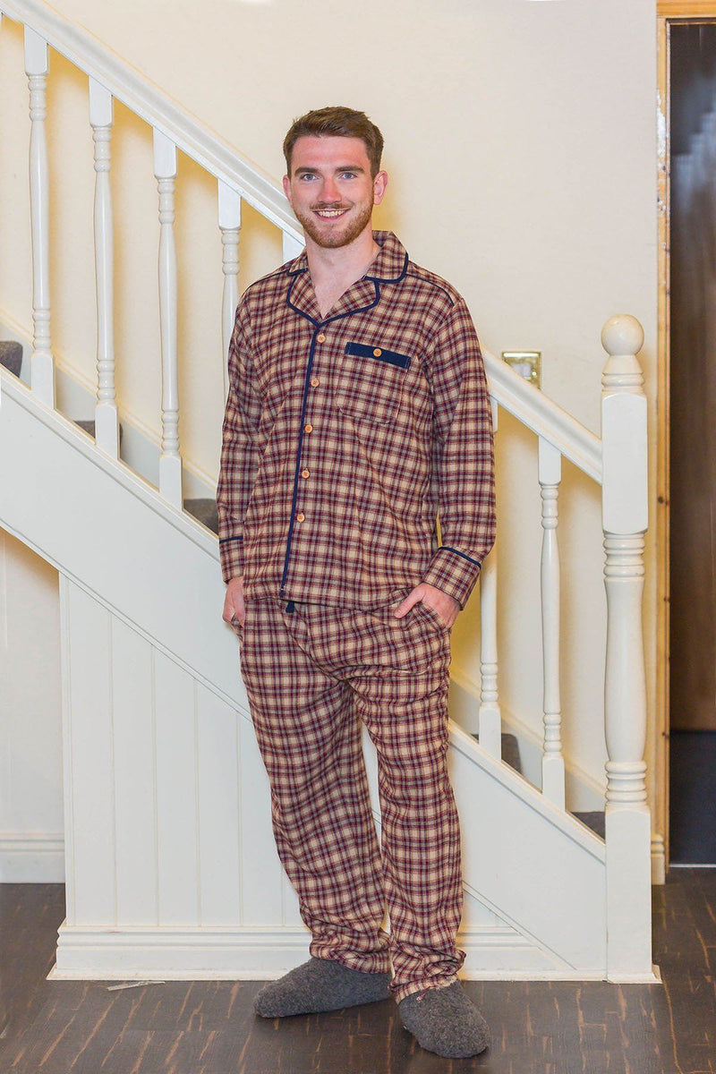 Pyjamas Irish Country Flannel Mens - SF4 Claret Check Sleepwear Lee Valley Ireland