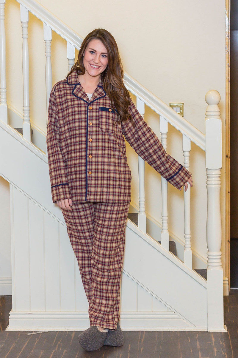 Pyjamas Irish Country Flannel Ladies - SF4 Claret Check - Lee Valley Ireland - 3