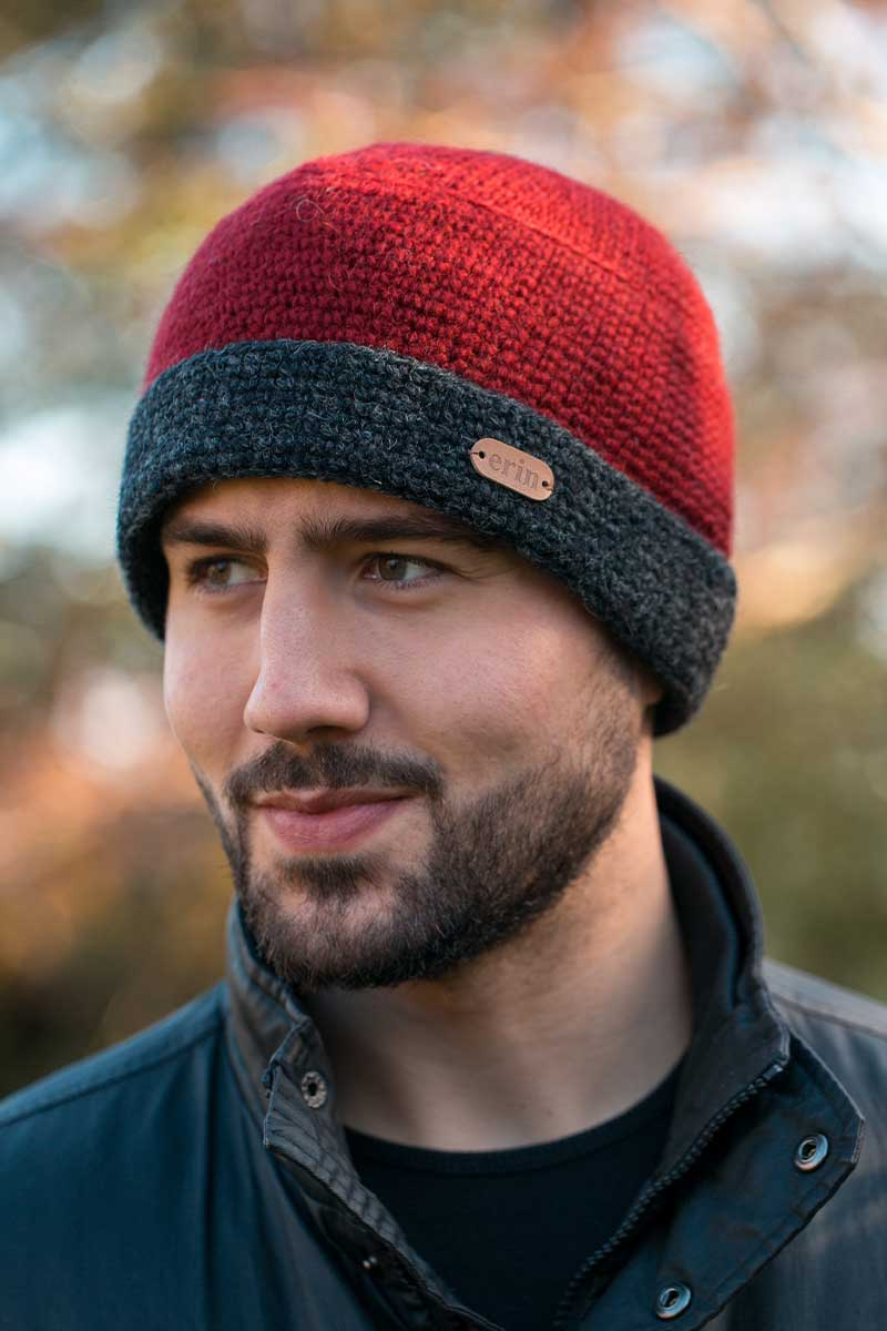 Erin Crochet Turn Up Hat - Red Wool Hats Erin Knitwear
