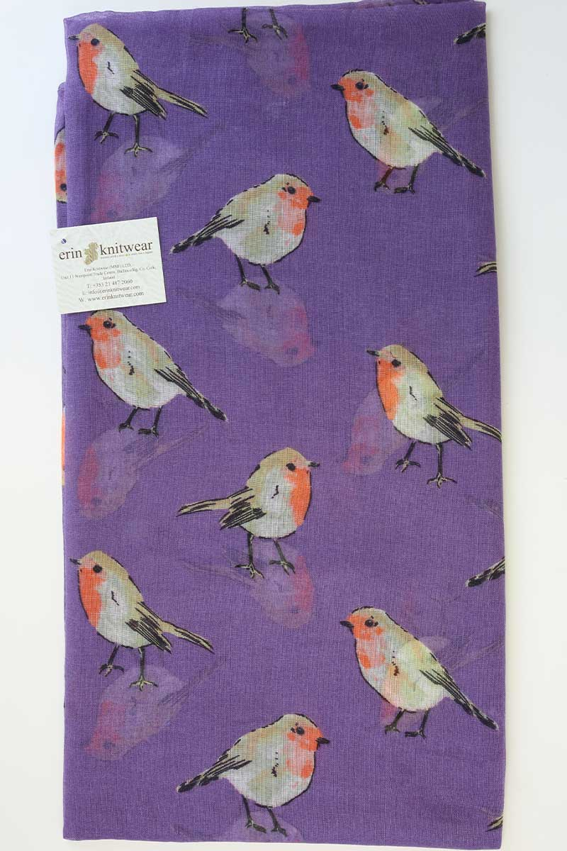 Watercolour Robin Scarf - Purple Scarf Erin Knitwear