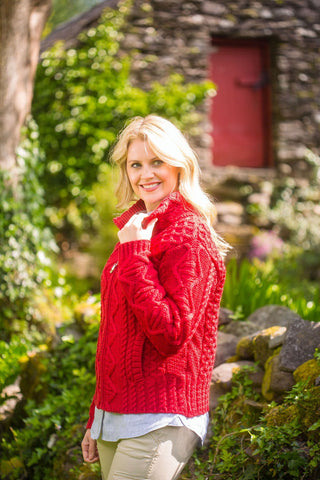 Irish Country Aran Cardigan - Cherry (X3096) - Lee Valley Ireland - 1