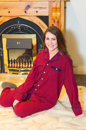 Pyjamas Irish Country Flannel Ladies - SF2 Red Check Sleepwear Lee Valley Ireland
