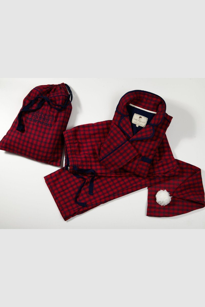 Nightwear Gift Set - Red Navy Check - Lee Valley Ireland - 1