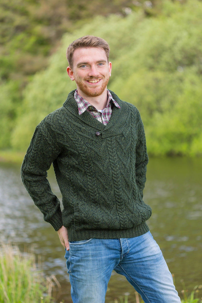 Irish Shawl Collar Sweater - Forest Green (SH4177) - Lee Valley Ireland - 1