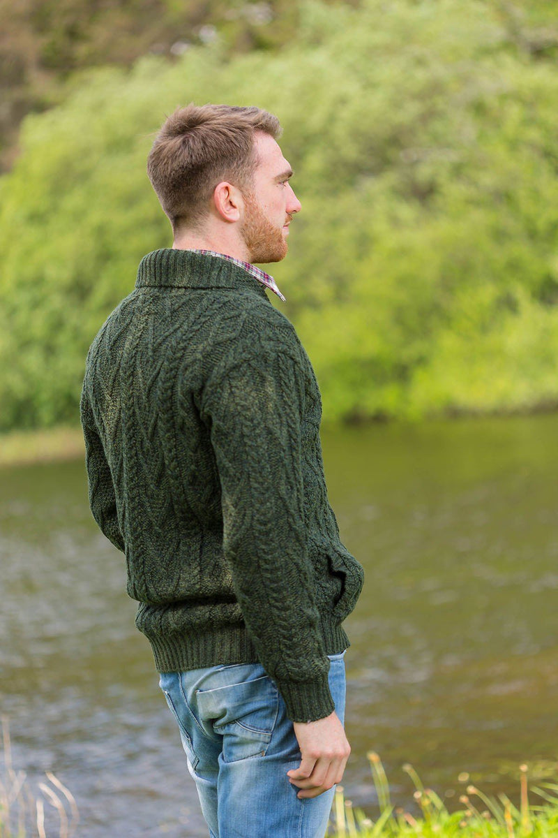 Irish Shawl Collar Sweater - Forest Green (SH4177) - Lee Valley Ireland - 3
