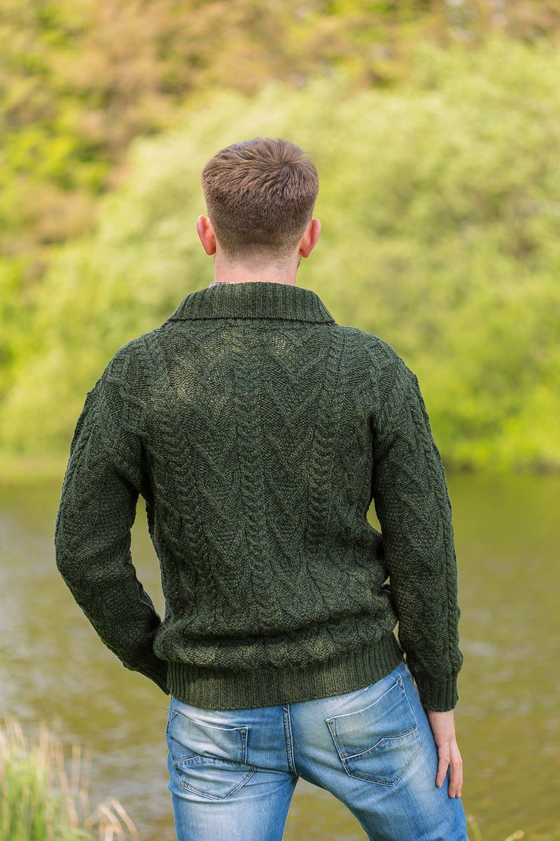 Irish Shawl Collar Sweater - Forest Green (SH4177) - Lee Valley Ireland - 2