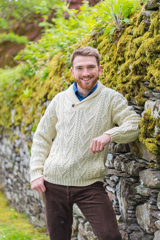 Irish Shawl Collar Sweater - Natural (SH4177) - Lee Valley Ireland - 1