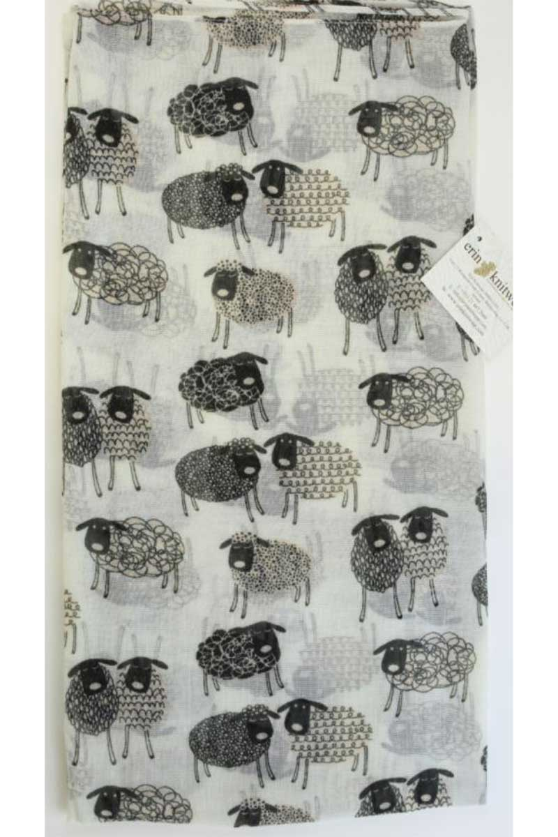 Sketched Sheep Scarf- White Scarf Erin Knitwear