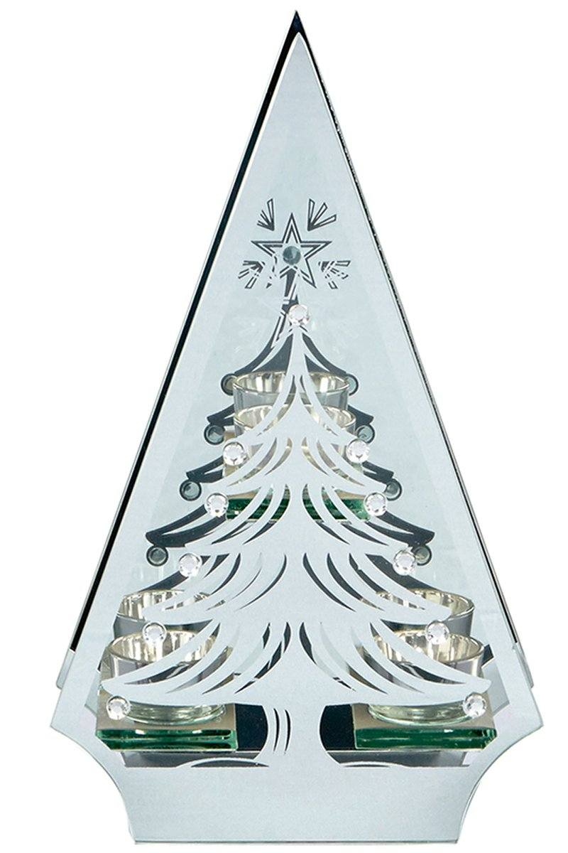 Silver Tree Triple Tea Light Holder (CS356) Christmas Ralawise