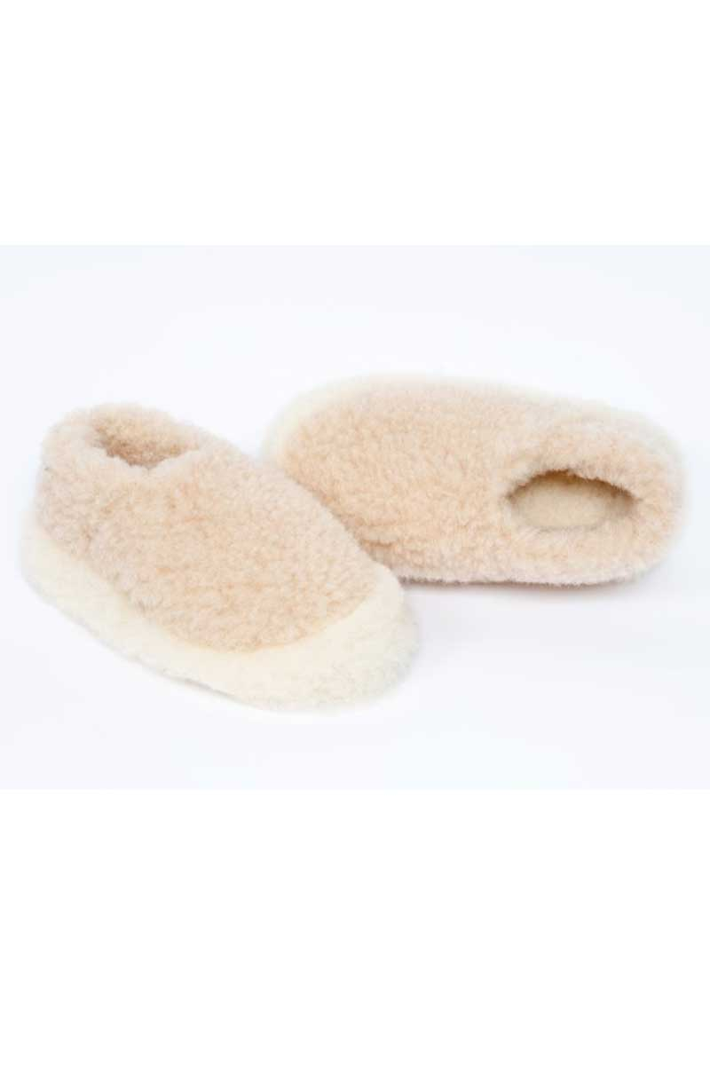 Irish Wool Slippers - Beige Wool Slippers Yoko