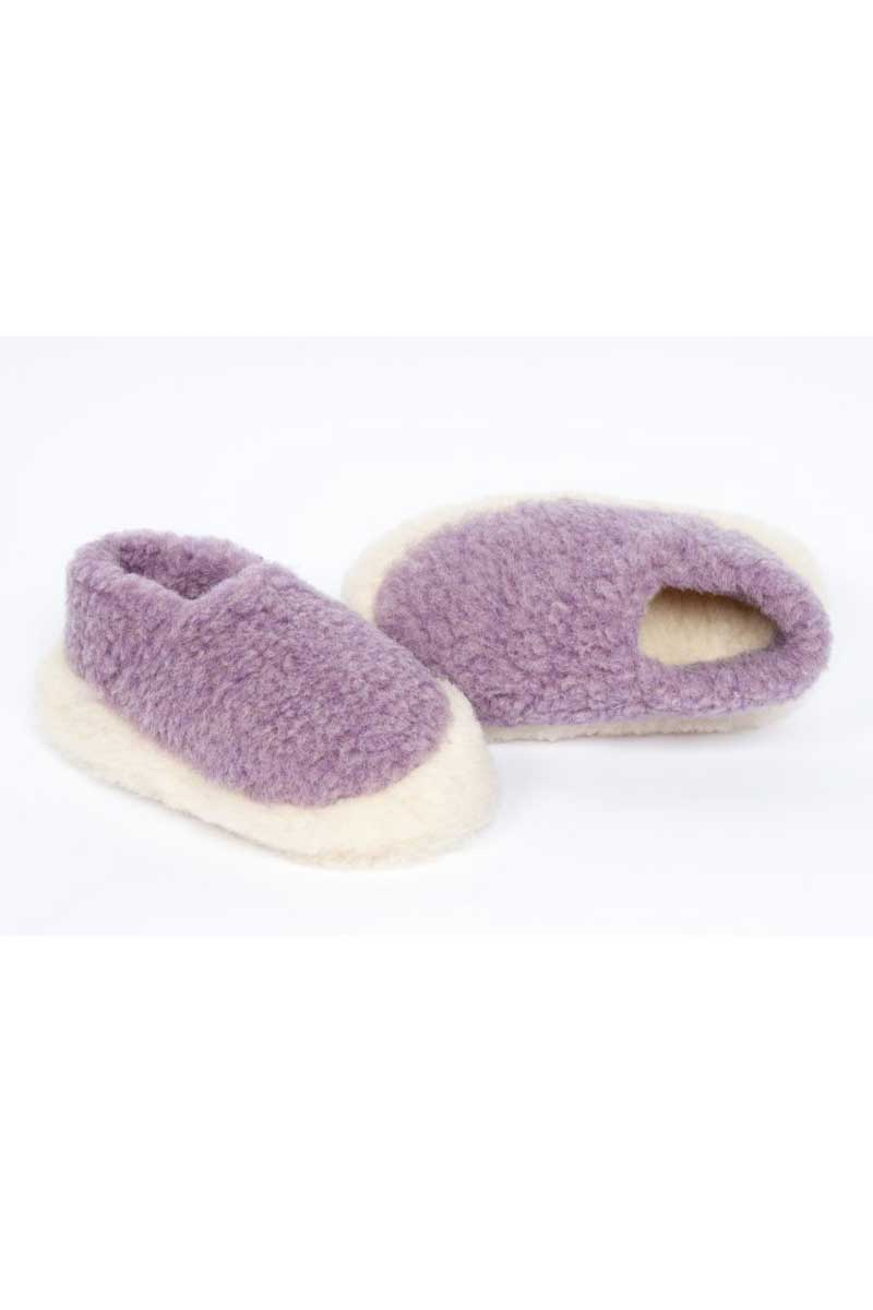 Irish Wool Slippers - Lilac Wool Slippers Yoko