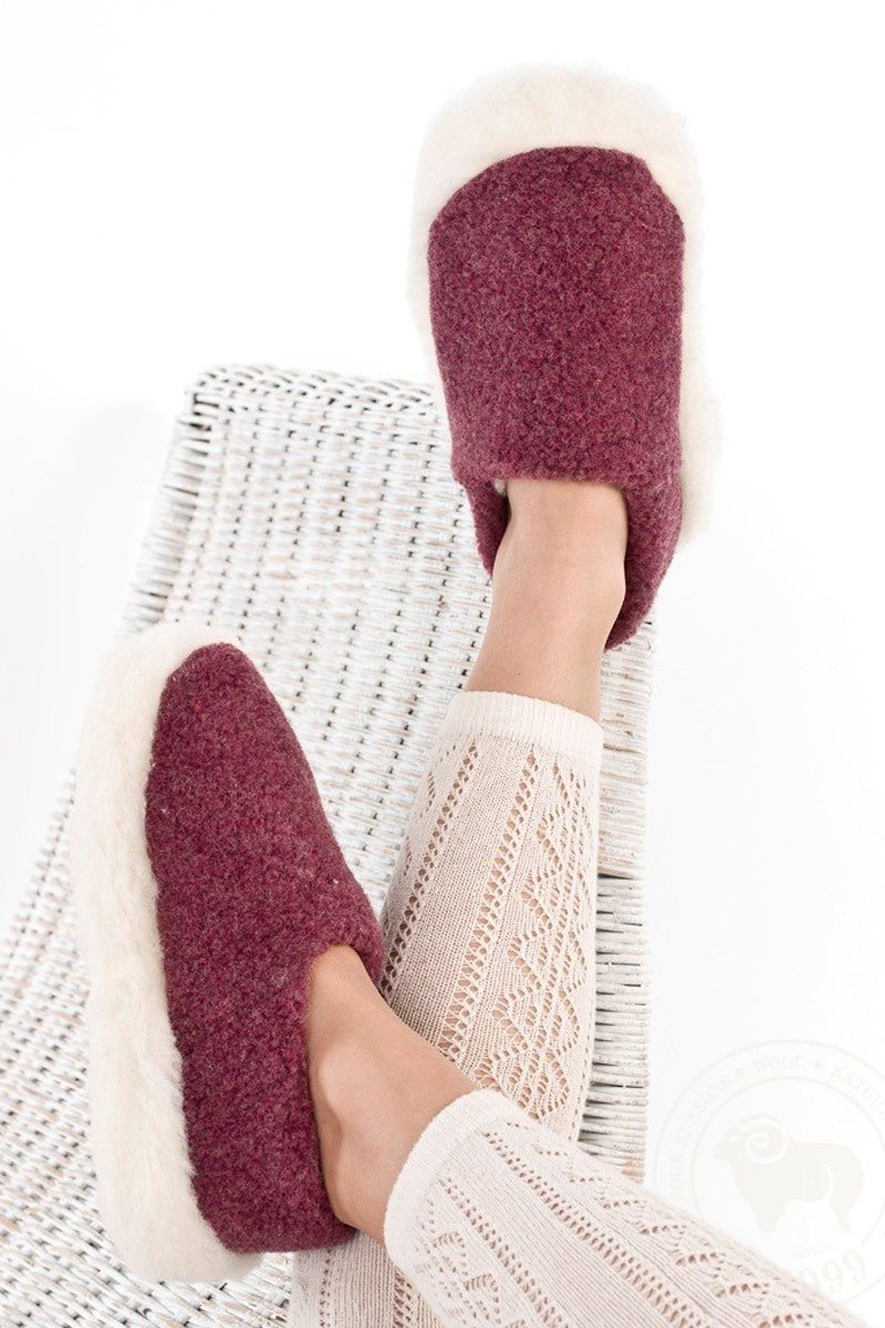 Irish Wool Slippers - Dark Red Wool Slippers Yoko