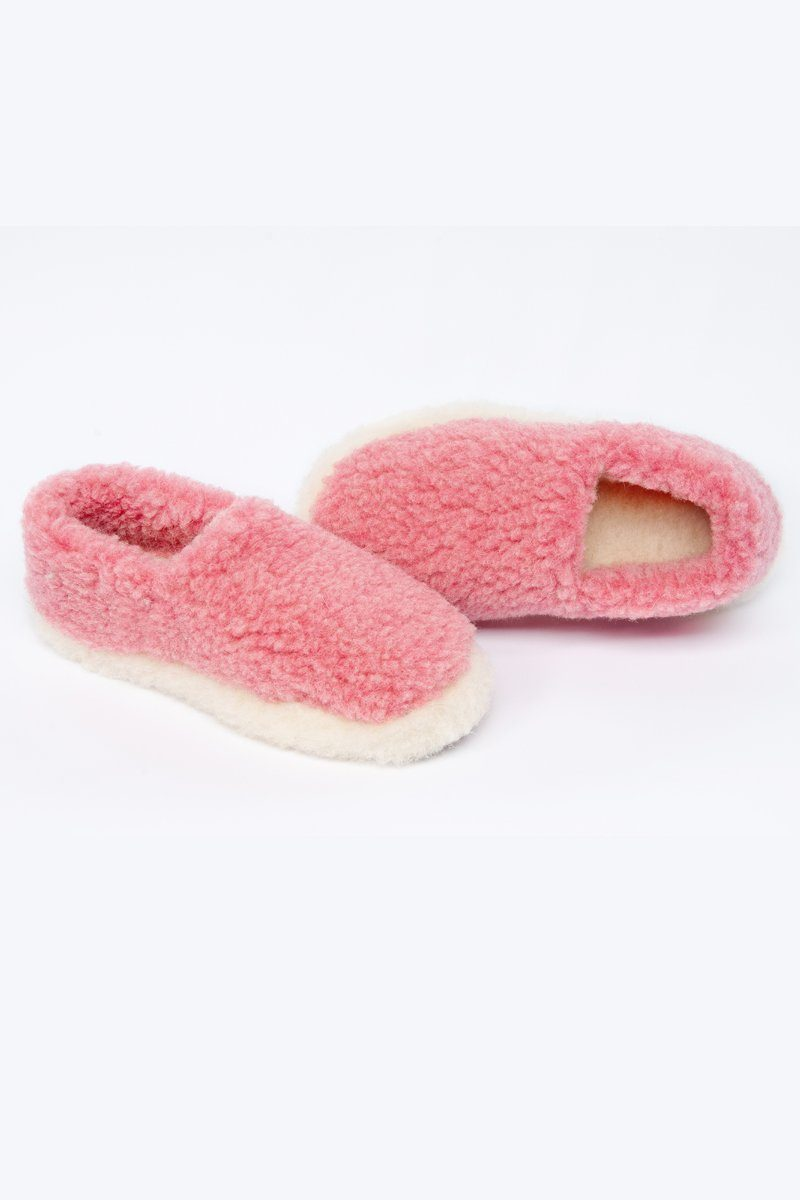 Irish Wool Slippers- Pink Wool Slippers Yoko