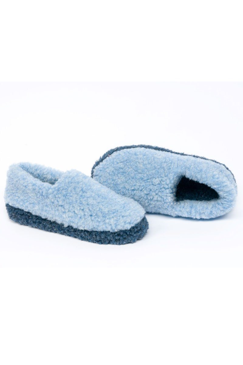 Irish Wool Slippers- Two Tone Blue Wool Slippers Yoko