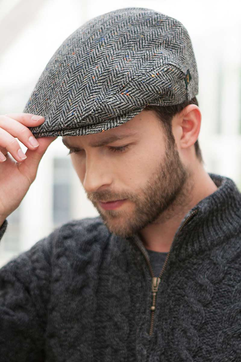 Irish Tweed Flat Cap- Grey Trinity Cap Mucros