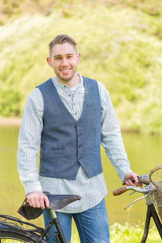 Irish Wool Tweed Vest - Durrow Dove Herringbone - Lee Valley Ireland - 1