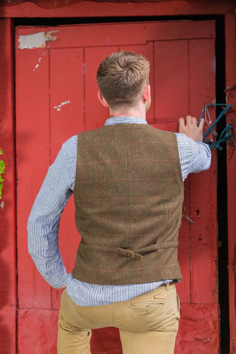 Irish Wool Tweed Vest - Durrow Moss Check - Lee Valley Ireland - 3
