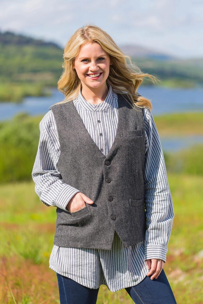 Irish Womens Wool Tweed Vest - Durrow Grey Herringbone Tweed Vest Lee Valley Ireland
