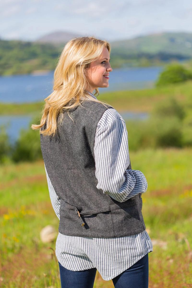 Irish Womens Wool Tweed Vest - Durrow Grey Herringbone - Lee Valley Ireland - 3