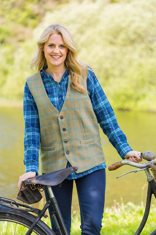 Irish Womens Wool Tweed Vest - Durrow Hurley Tweed - Lee Valley Ireland - 1