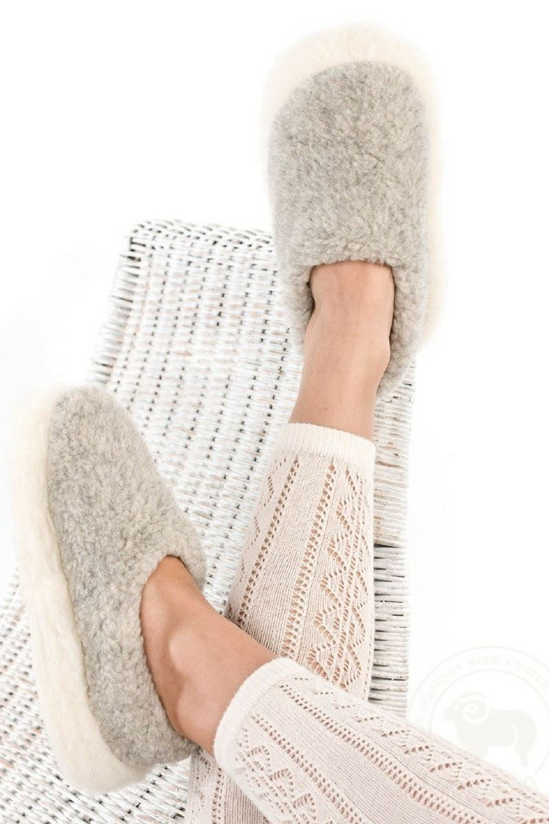 Irish Wool Slippers - Stone Grey Wool Slippers Yoko