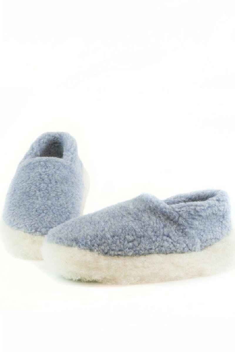 Irish Wool Slippers - Baby Blue Wool Slippers Yoko