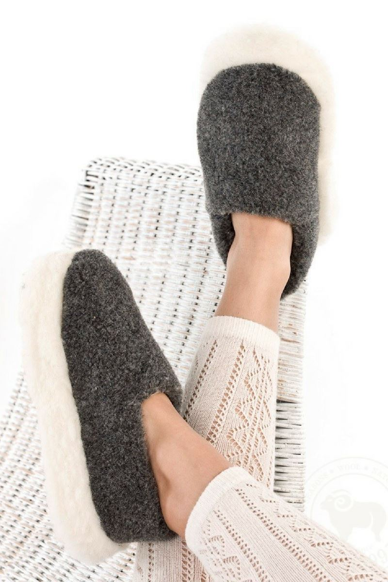 Irish Wool Slippers - Charcoal Wool Slippers Yoko